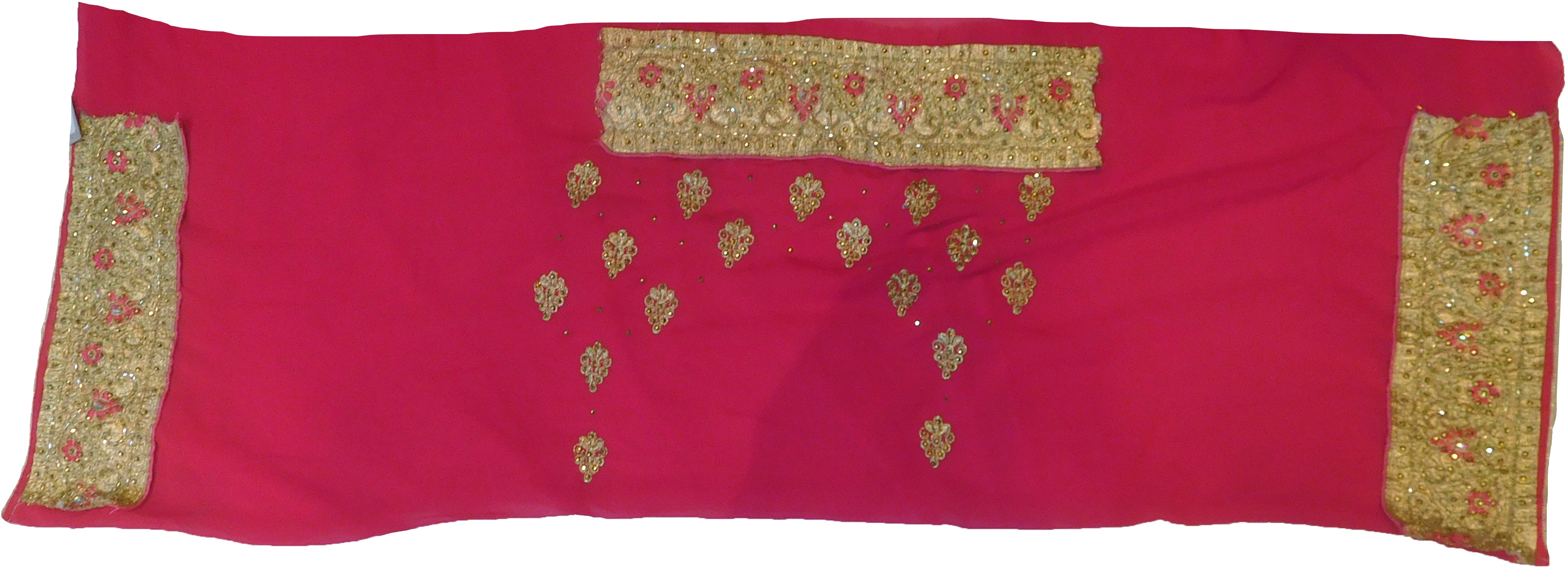 SMSAREE Pink & Golden Designer Wedding Partywear Georgette Stone Thread & Zari Hand Embroidery Work Bridal Saree Sari With Blouse Piece F384