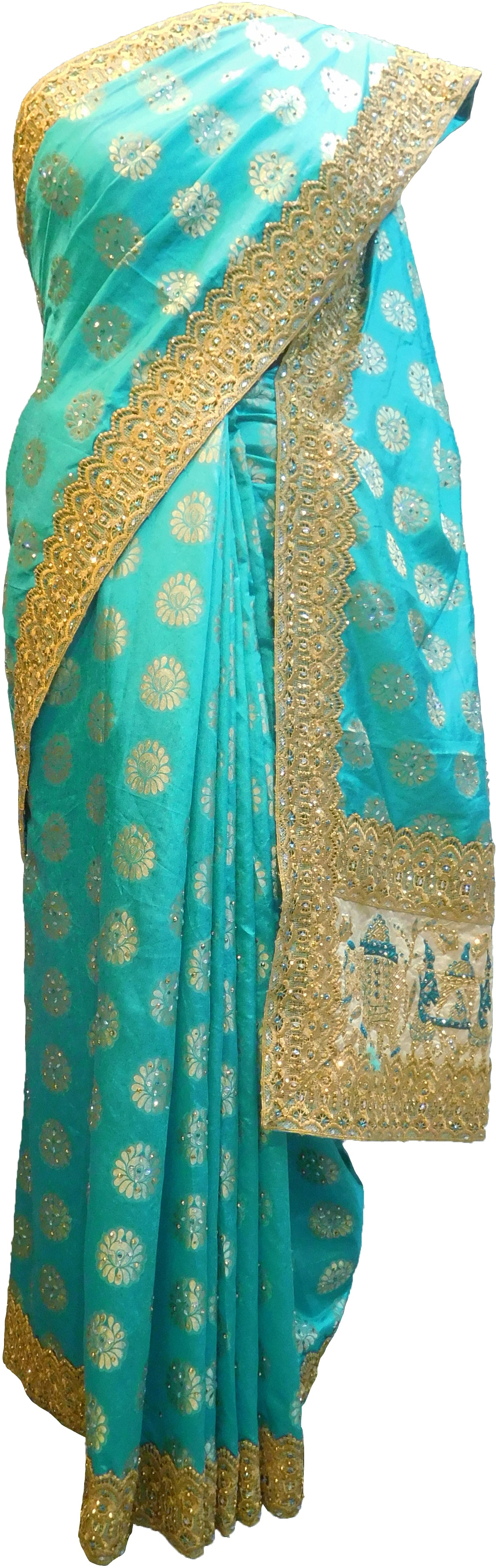 SMSAREE Turquoise Designer Wedding Partywear Silk Stone Thread & Zari Hand Embroidery Work Bridal Saree Sari With Blouse Piece F398