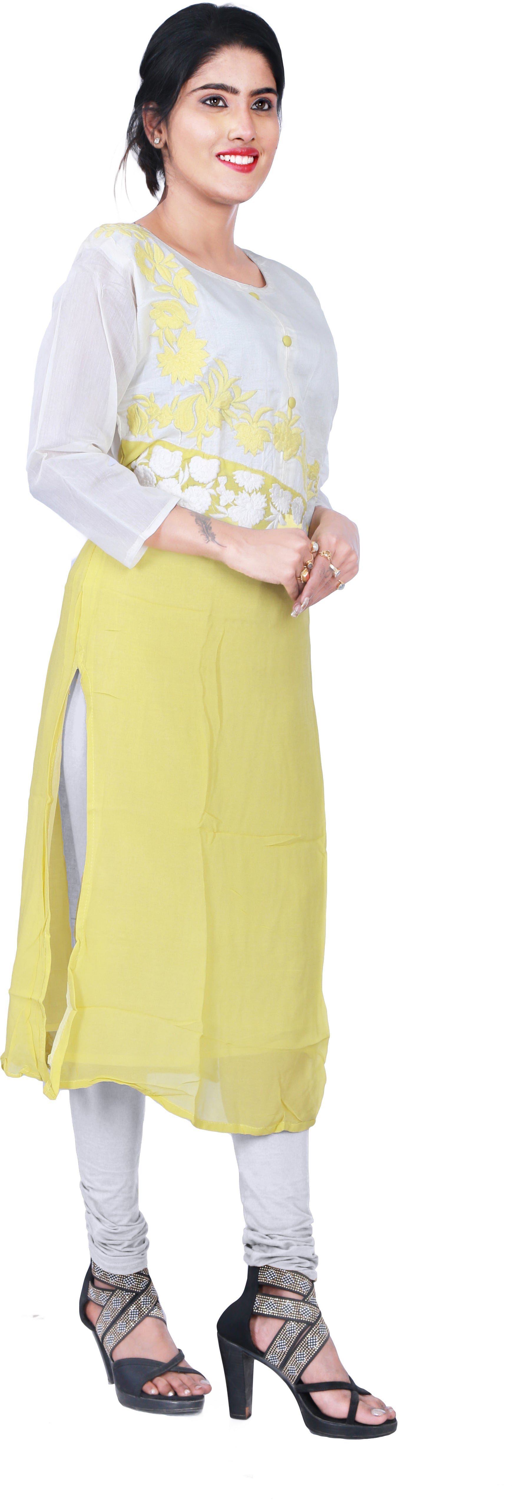 SMSAREE White & Yellow Designer Casual Partywear Cotton (Chanderi) & Georgette Viscos Thread Hand Embroidery Work Stylish Women Kurti Kurta With Free Matching Leggings GK469