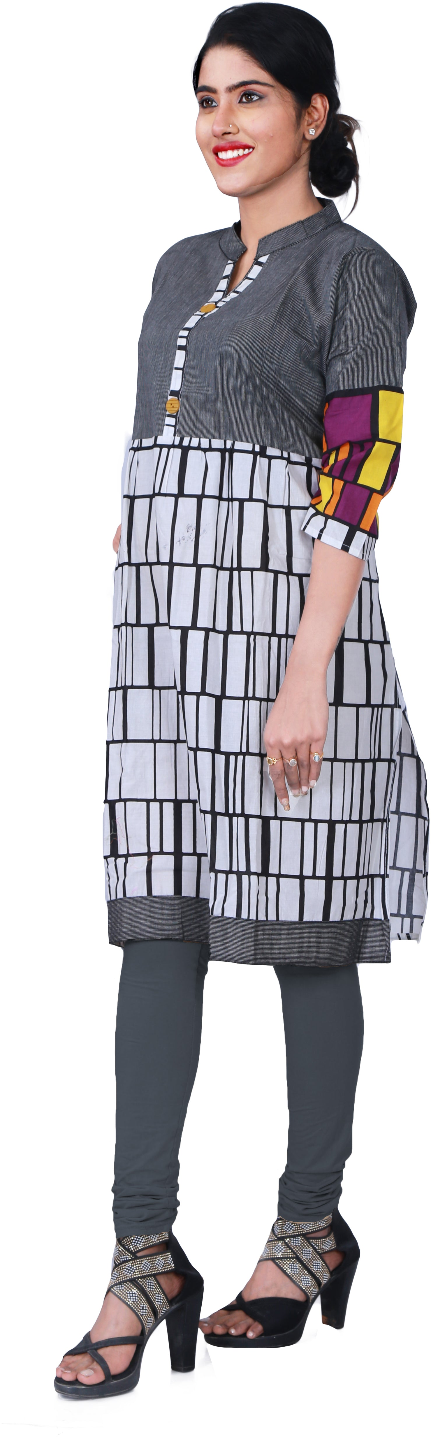 SMSAREE Grey & White Designer Casual Partywear Pure Cotton Printed Hand Embroidery Work Stylish Women Kurti Kurta With Free Matching Leggings KC039