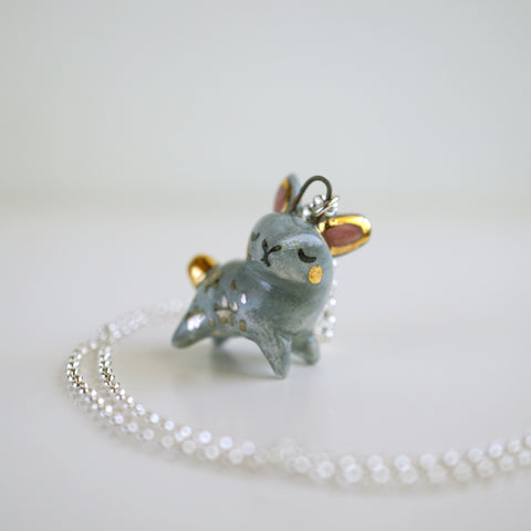 Grey Starry Bunny Necklace