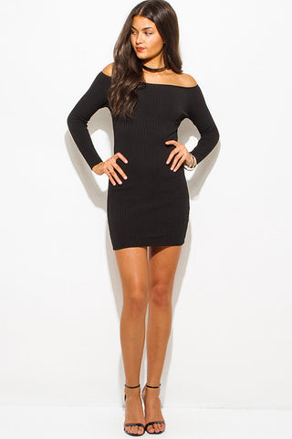Black Ribbed Knit Mini Dress