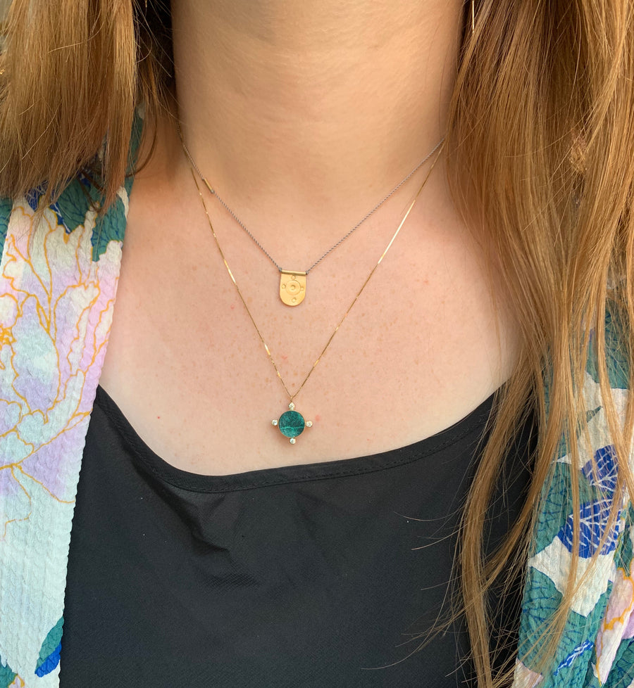 Young in the Mountains Compass Chrysocolla Necklace
