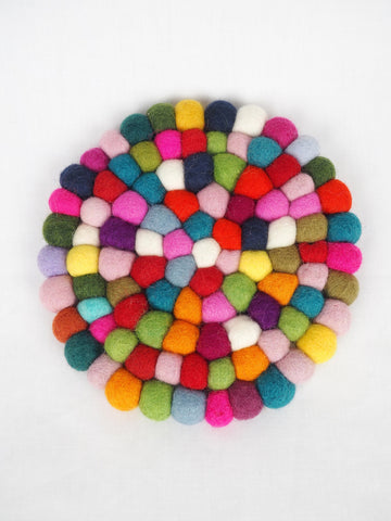 Marbles Felt Pot Stand Multi Round
