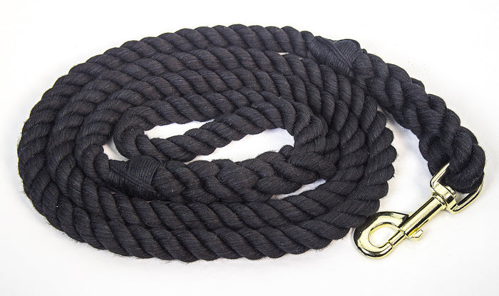 Handmade Twisted Cotton Rope Dog Leash (Black)