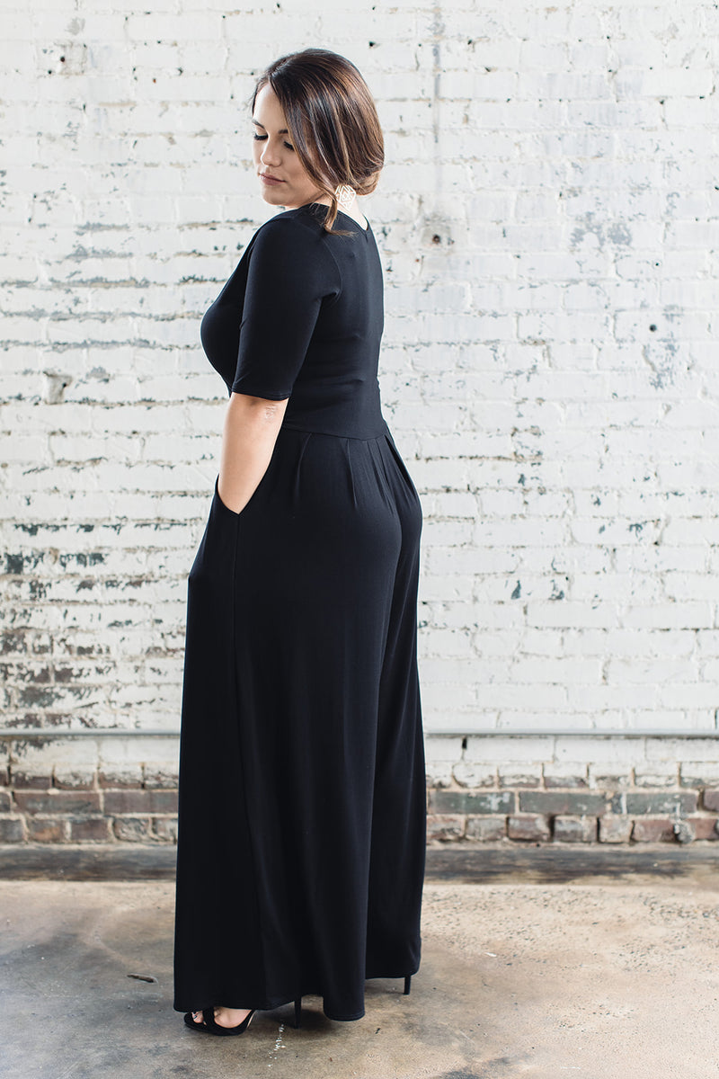 Bamboo black jumpsuit with wide legs