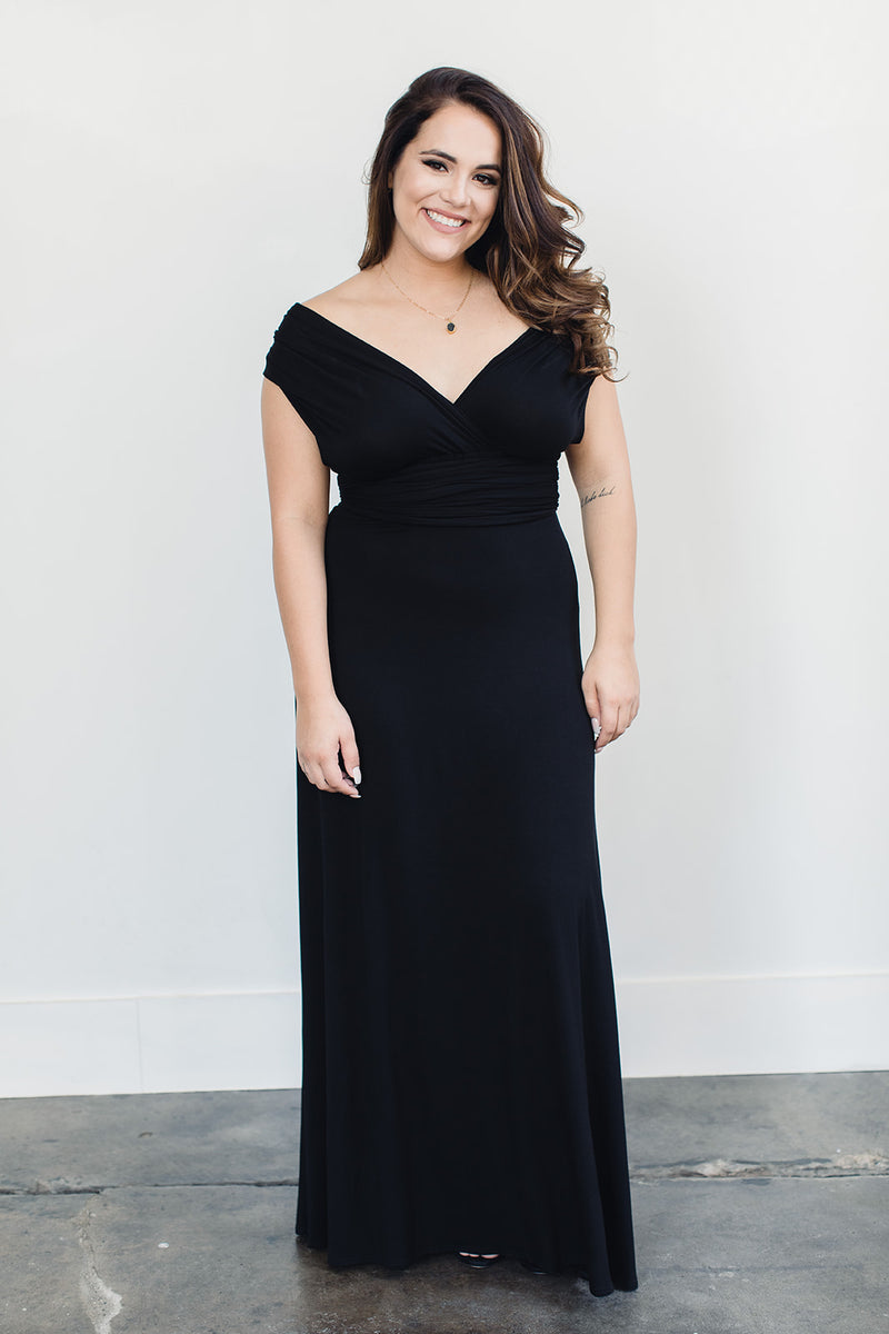 Sustainable black off the shoulder floor length dress