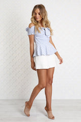 Ella Gingham Top | BLUE - SALE