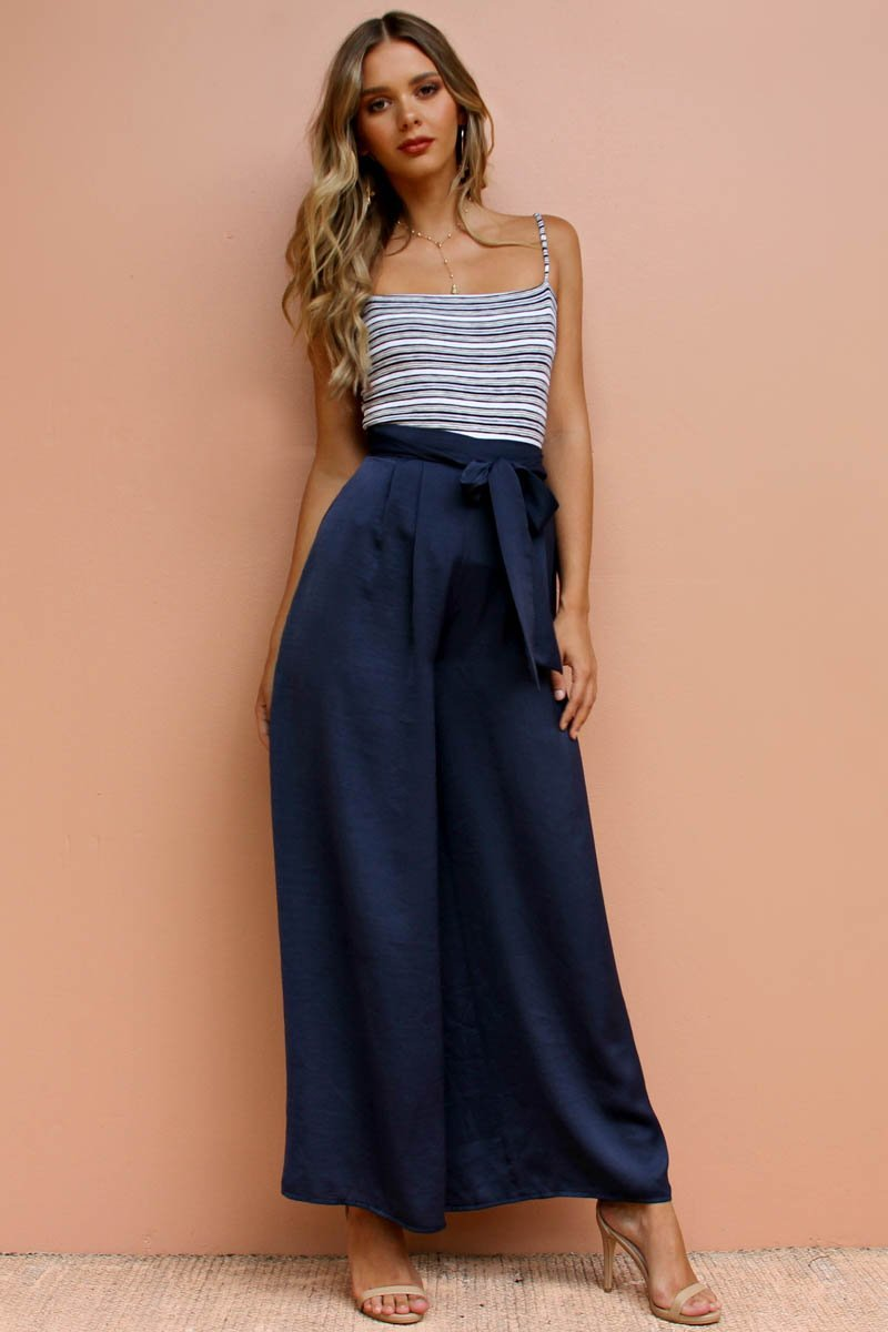 Berry Silky Pant | NAVY - SALE