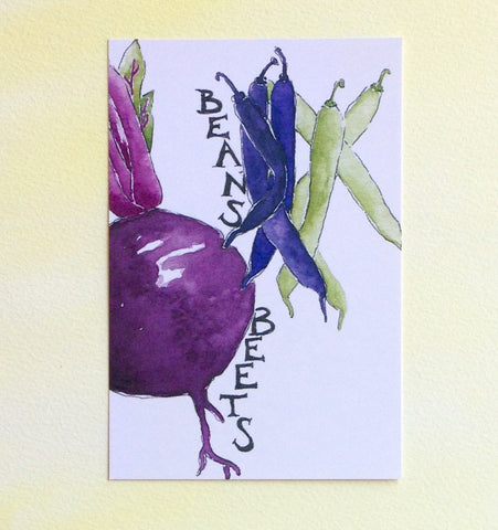 Watercolor Beans and Beets Postcard