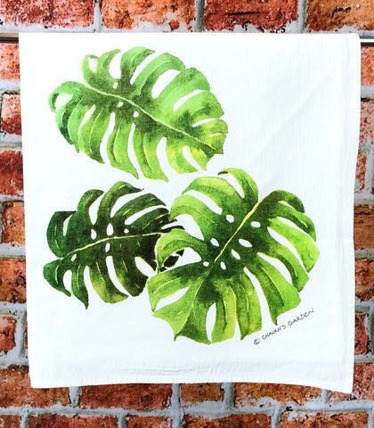 Monstera Tea Towel, Tropical Flour Sack Kitchen Towel