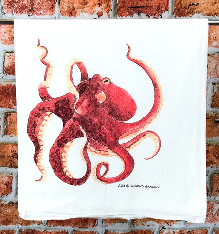 Octopus Tea Towel, Red Watercolor Octopus