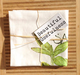Sage Tea Towel, Watercolor Sage, Herb Kitchen Towel