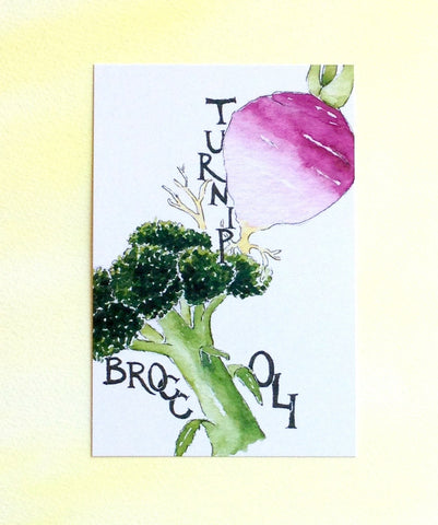 Watercolor broccoli and turnip postcards