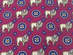 Animal Tie Ruben Lion & Shields on Magenta Silk Men Necktie 48