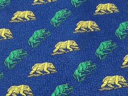 Animal Tie Bank Sarasin & Cie Lion and Bull on Blue Silk Men NeckTie 44