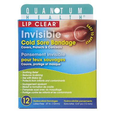 Quantum Health Lip Clear Invisible Cold Sore Bandage  12 Hydrocolloid Bandages