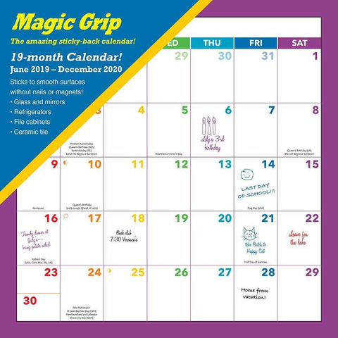 Rainbow 2020 Magic Grip Wall Calendar