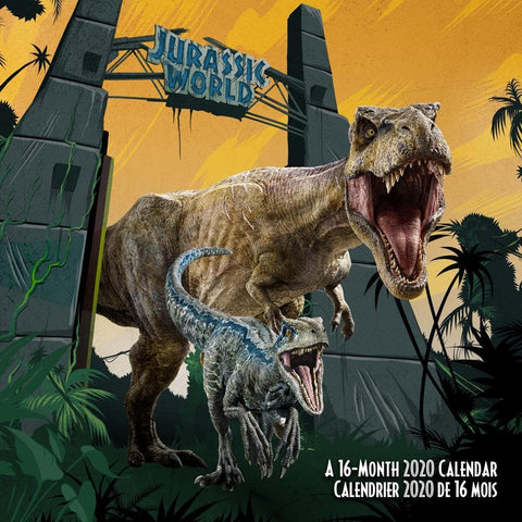Jurassic World Bilingual 2020 Wall Calendar Front Cover