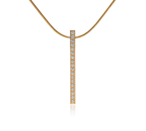 PT107G B.Tiff Bar Gold Plated Stainless Steel Pendant