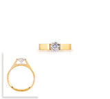 RG096G B.Tiff Round Solitaire Gold Plated Stainless Steel Ring