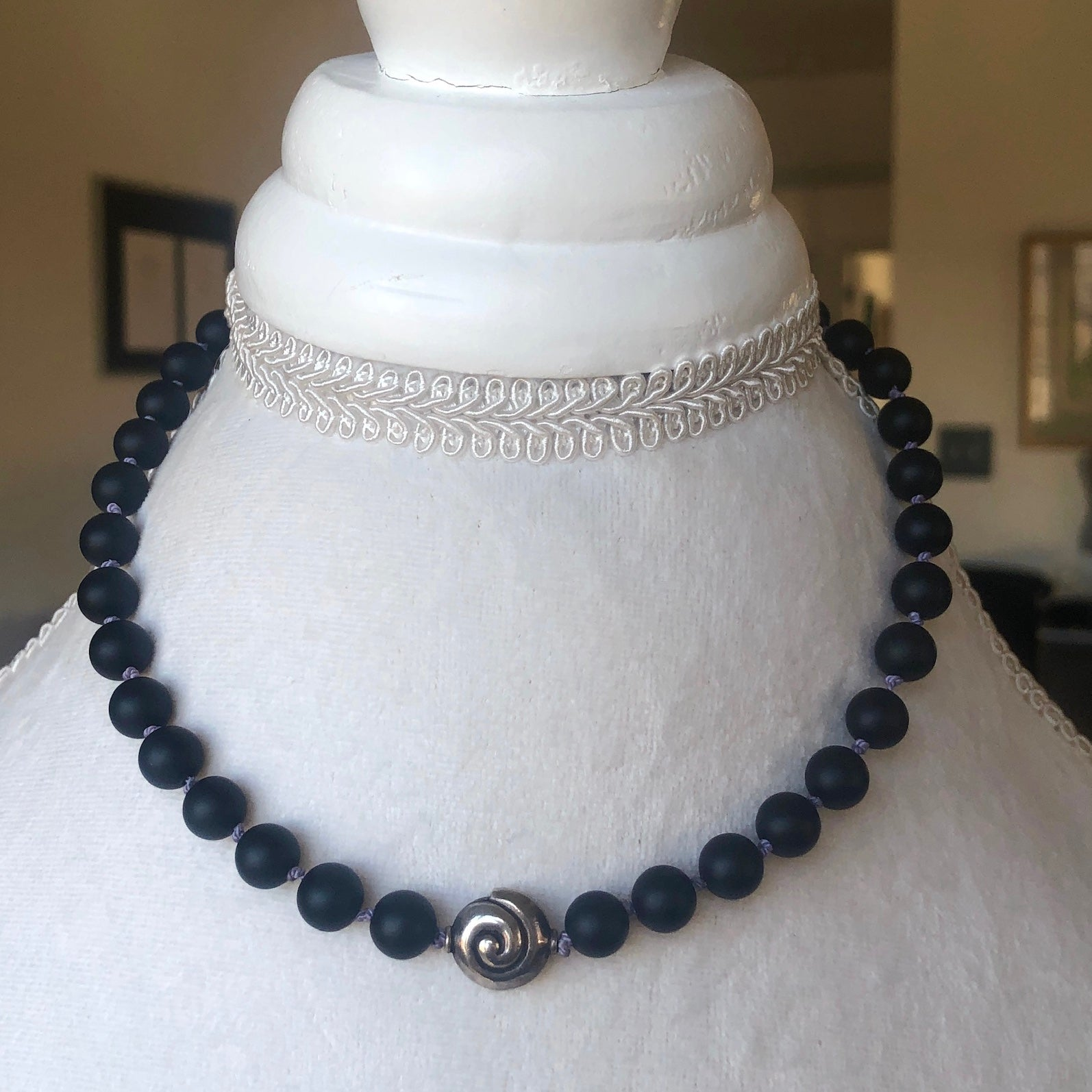 Christine Black Jasper Throat Chakra Choker Necklace