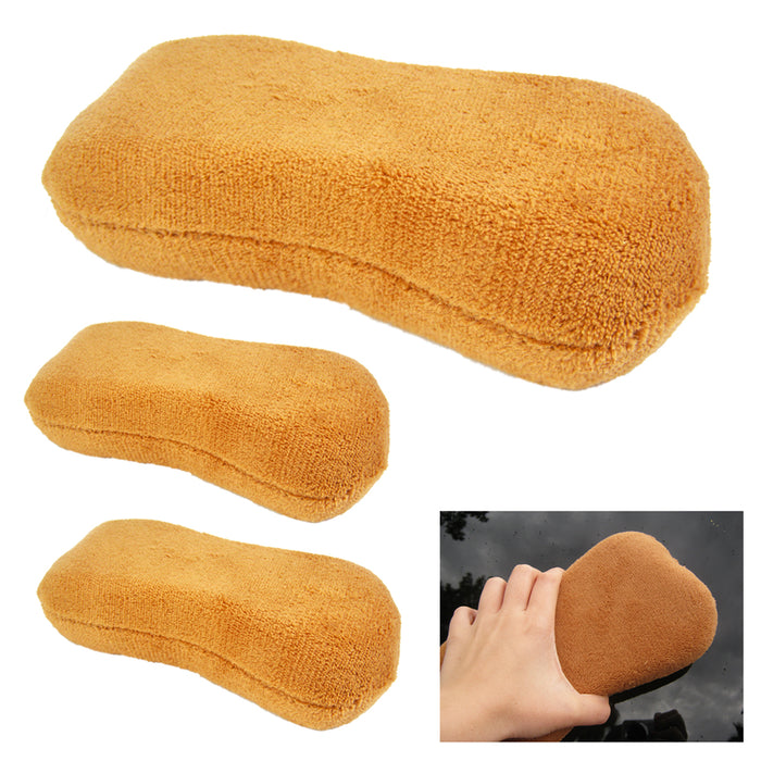3X Car Waxing Foam Sponges Polish Microfiber Detailing Pads Applicators Cleaning