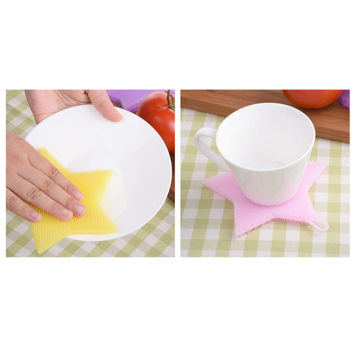 3PC Silicone Sponge Scrubbers Food Grade Kitchen Dish Washing Multipurpose Brush