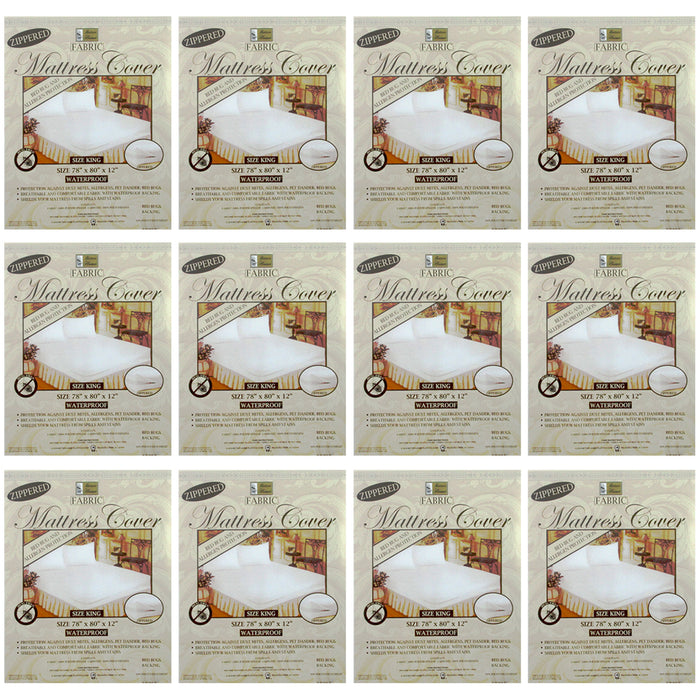12 Lot King Size Mattress Cover Zippered Fabric Protects Bed Dust Bug Waterproof