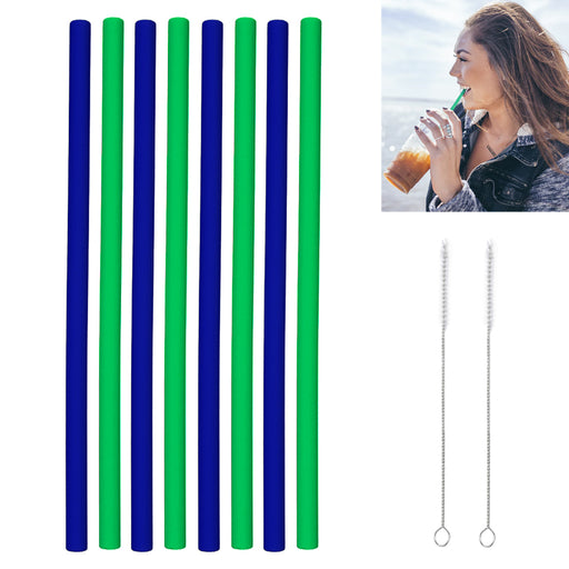8 Pcs Silicone Drinking Straws Straight Food Grade Reusable Cleaning Brushes Set