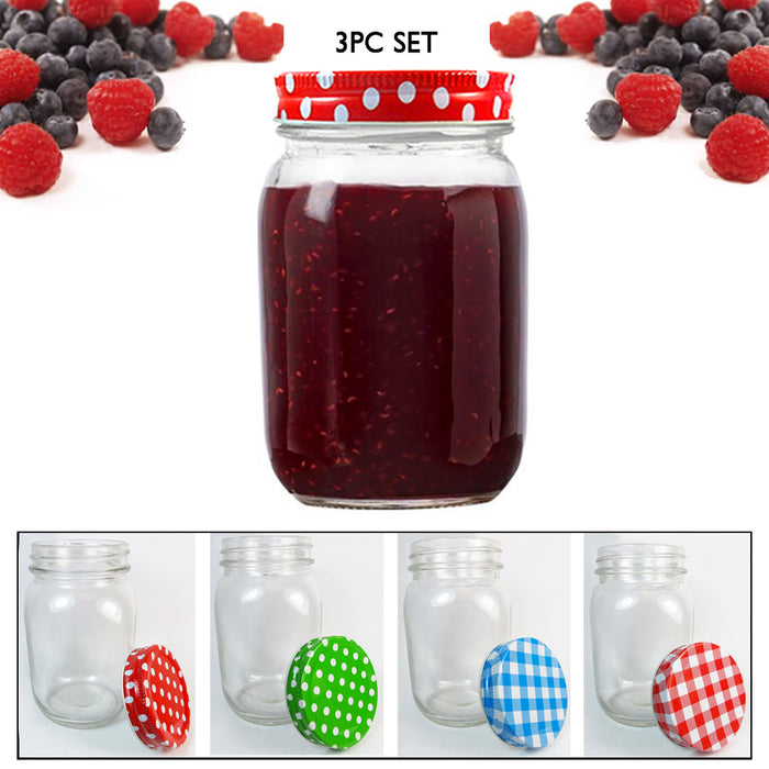 3 Set Clear Mason Jars 18oz Wide Mouth Glass Lids Jelly Canning Pint Wedding New