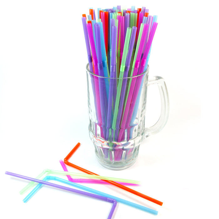 600 Pcs Colorful Party Straws Long Flexible Bendy Bar Drinking Supplies Plastic