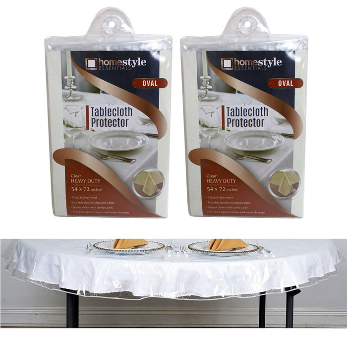 2 Crystal Clear Vinyl Tablecloth Protector Heavy Oval Plastic Table Cover 54X72