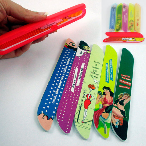 1 Nail File W/ Compact Case Refill Travel Storage Sanding Manicure Pedicure