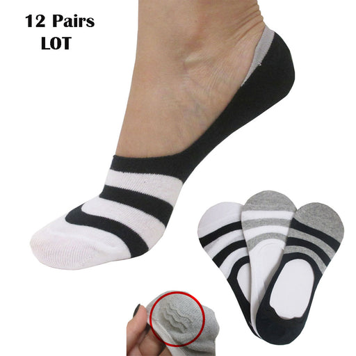 12 Pairs No Show Nonslip Socks Cotton Invisible Loafer Boat Liner Low Cut Unisex