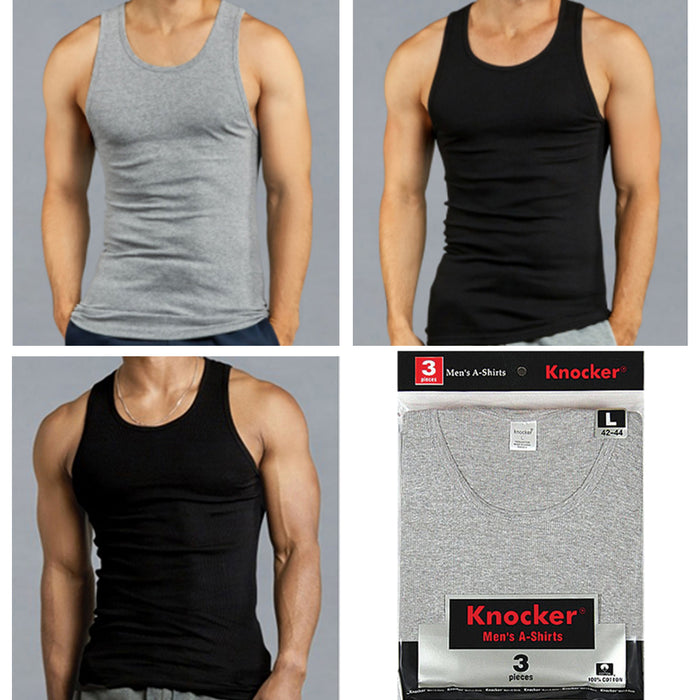 6 X Mens Tank Tops 100% Cotton A-Shirt Ribbed Pack Undershirt Black Gray Large