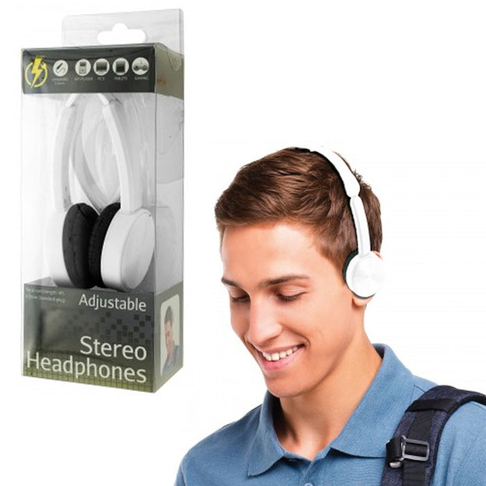 Stereo Headphones Over Head On Ear Foldable All Devices 3.5mm DJ iPod PC White