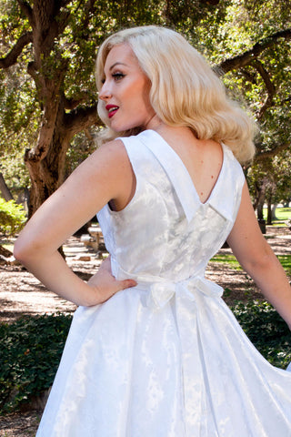 Weddings - Suzette Dress - Embossed Pearl Floral - Heart of Haute