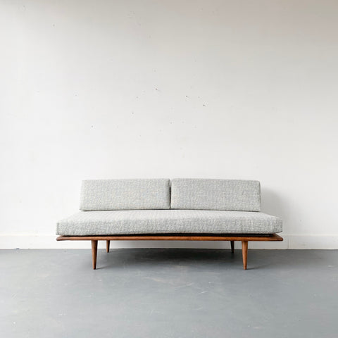 Mid Century Sofa/Daybed with Light Blue/Grey Upholstery