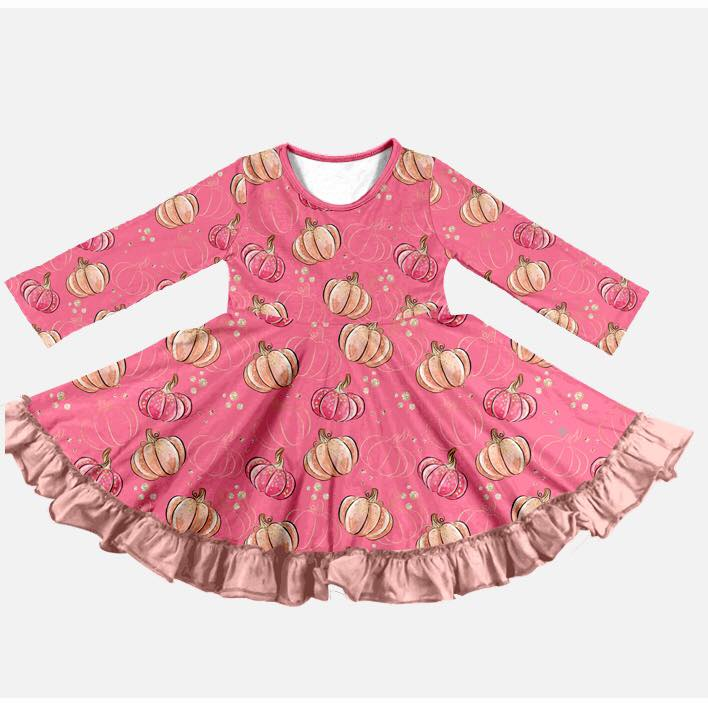 PINK PUMPKIN TWIRL DRESS - PREORDER