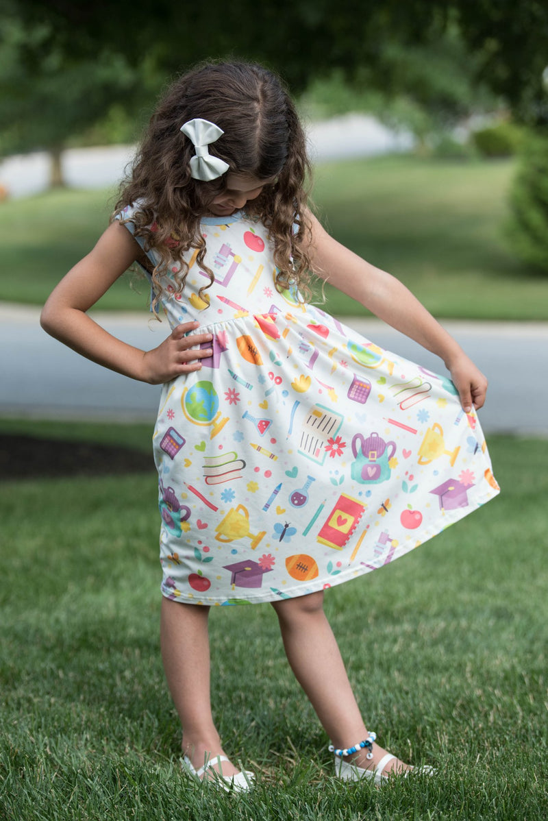 BACK TO SCHOOL TIE BACK DRESS WITH POCKETS