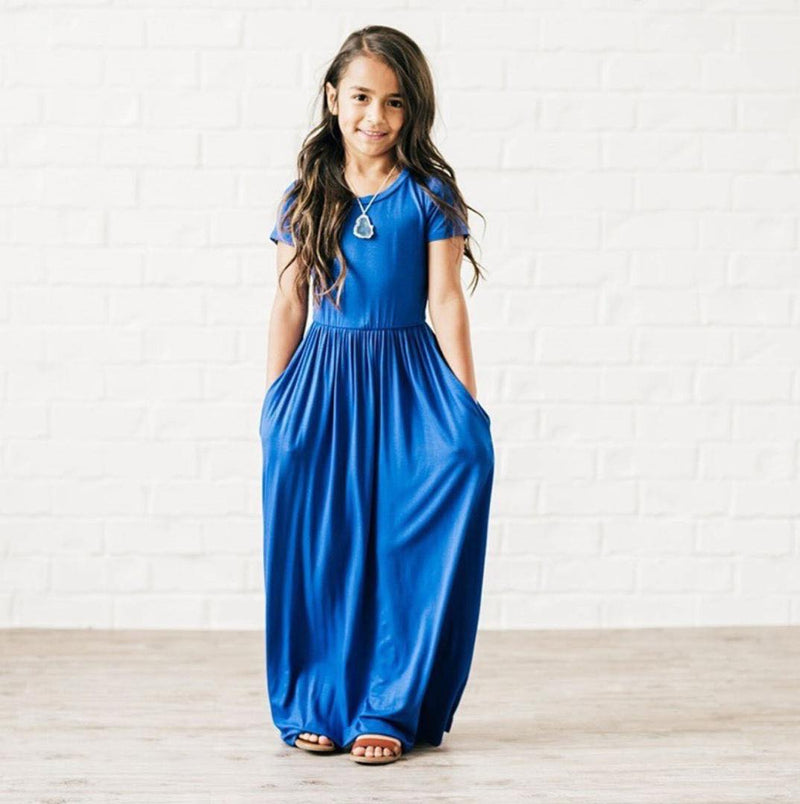 ROYAL BLUE MAXI DRESS WITH POCKETS - D1