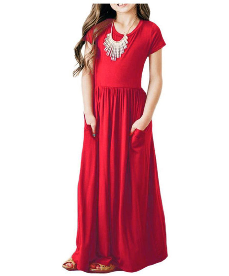 MAXI DRESS WITH POCKETS - RED