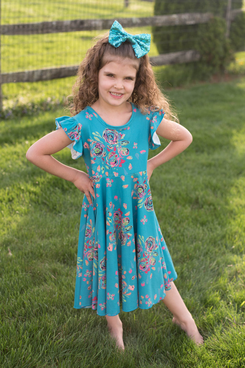 SOPHIE TEAL FLORAL TWIRLY DRESS