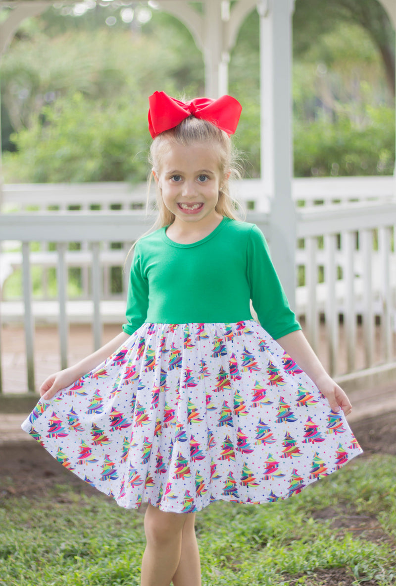 CHRISTMAS RAINBOW TREES PEARL DRESS