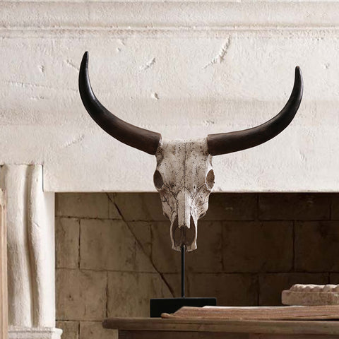 Rustic ox head skull home furnishing decor creative resin handicrafts