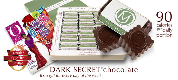 DARK SECRET® chocolate with 67% Cacao - 30 Day box https://cacaocuvee.com/products/dark-secret-chocolate-30-day-box-with-67-cacao Dark Secret Chocolate,Selected for Oprah's Holiday Gift Guide,Most loved superfood,Smart Chocolate,DARK SECRET,Oprah's Favorite Things,the Oprah effect,chocolate less than 100 calories,Oprah's favorite chocolate,Oprah's Dark Secret