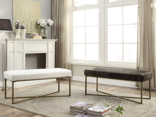 Filia Fur Bench - White, Dark Grey