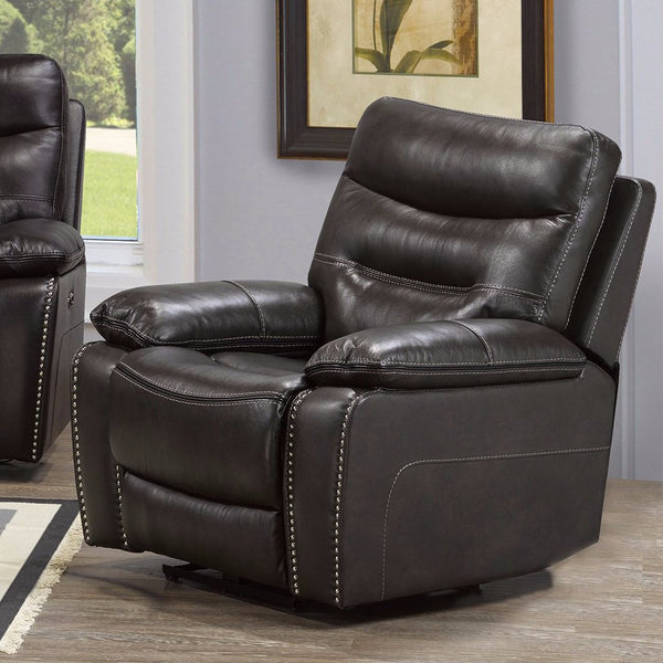 Allison Power Recliner - Grey Genuine Leather