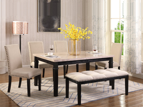Elise 6PC Dining Set - Stone Top